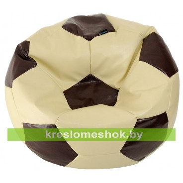 Кресло-мешок Мяч экокожа (100х100 см) кремово-коричневый