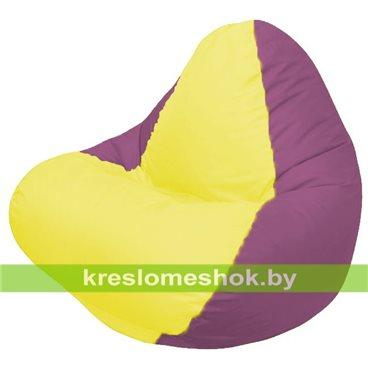 Кресло мешок RELAX бордовое, сидушка жёлтая