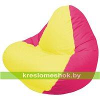 Кресло мешок RELAX малиновое, сидушка жёлтая