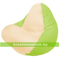 Кресло мешок RELAX салатовое, сидушка светло-бежевая