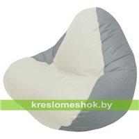 Кресло мешок RELAX серое, сидушка белая