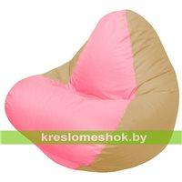 Кресло мешок RELAX тёмно-бежевое, сидушка розовая