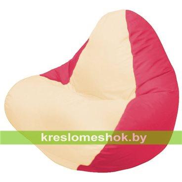 Кресло мешок RELAX красное, сидушка светло - бежевая