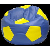 Кресло мешок Мяч экокожа (110 х 110 см) желто-синий
