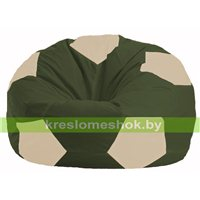 Кресло мешок Мяч тёмно-оливковый - светло-бежевый М 1.1-54