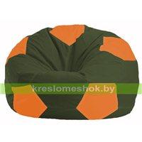 Кресло мешок Мяч тёмно-оливковый - оранжевый М 1.1-56