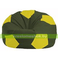 Кресло мешок Мяч тёмно-оливковый - жёлтый М 1.1-57