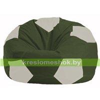 Кресло мешок Мяч тёмно-оливковый - белый М 1.1-59