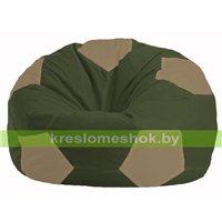Кресло мешок Мяч тёмно-оливковый - бежевый М 1.1-52