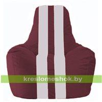 Кресло-мешок Спортинг бордовый - белый С1.1-312