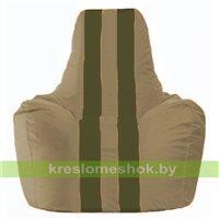 Кресло мешок Спортинг бежевый - тёмно-оливковый С1.1-82