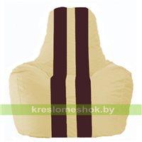 Кресло мешок Спортинг светло-бежевый - бордовый С1.1-150