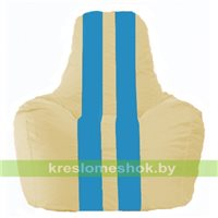 Кресло мешок Спортинг светло-бежевый - голубой С1.1-149