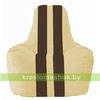 Кресло мешок Спортинг светло-бежевый - коричневый С1.1-146