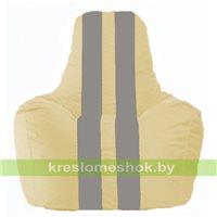 Кресло мешок Спортинг светло-бежевый - серый С1.1-140