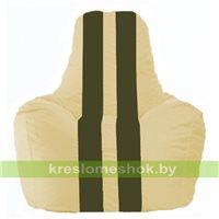 Кресло мешок Спортинг светло-бежевый - тёмно-оливковый С1.1-135
