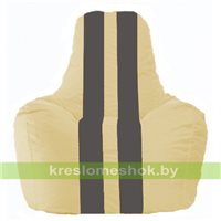 Кресло мешок Спортинг светло-бежевый - тёмно-серый С1.1-134