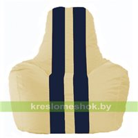 Кресло мешок Спортинг светло-бежевый - тёмно-синий С1.1-133