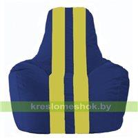 Кресло мешок Спортинг синий - жёлтый С1.1-128