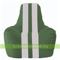 Кресло мешок Спортинг тёмно-зелёный - белый  С1.1-76