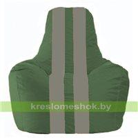 Кресло мешок Спортинг тёмно-зелёный - серый С1.1-61