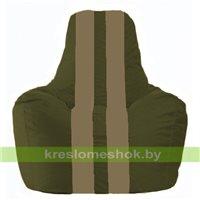 Кресло мешок Спортинг тёмно-оливковый - бежевый С1.1-52
