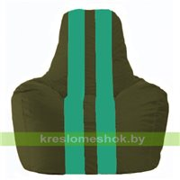 Кресло мешок Спортинг тёмно-оливковый - бирюзовый С1.1-58
