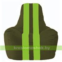 Кресло мешок Спортинг тёмно-оливковый - салатовый С1.1-55
