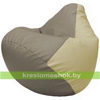 Бескаркасное кресло-мешок Груша Г2.3-0210 светло-серый, светло-бежевый