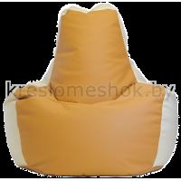 Кресло мешок Спортинг экокожа бежево-белый