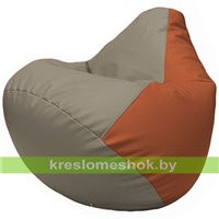 Бескаркасное кресло-мешок Груша Г2.3-0223 светло-серый, оранжевый