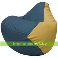 Бескаркасное кресло-мешок Груша Г2.3-0308 синий, охра