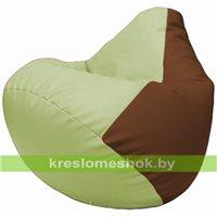 Бескаркасное кресло-мешок Груша Г2.3-0407 светло-салатовый, коричневый