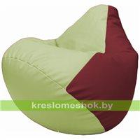Бескаркасное кресло-мешок Груша Г2.3-0421 светло-салатовый, бордовый