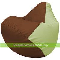 Бескаркасное кресло-мешок Груша Г2.3-0704 коричневый, светло-салатовый