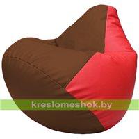 Бескаркасное кресло-мешок Груша Г2.3-0709 коричневый, красный