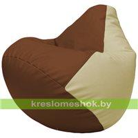 Бескаркасное кресло-мешок Груша Г2.3-0710 коричневый, светло-бежевый
