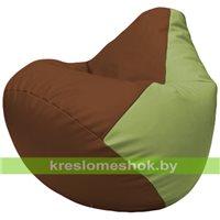 Бескаркасное кресло-мешок Груша Г2.3-0719 коричневый, оливковый