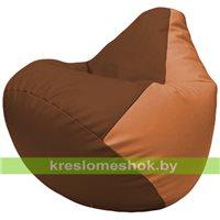 Бескаркасное кресло-мешок Груша Г2.3-0720 коричневый, оранжевый