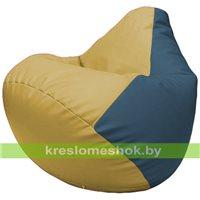 Бескаркасное кресло-мешок Груша Г2.3-0803 охра, синий