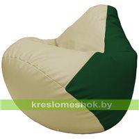 Бескаркасное кресло-мешок Груша Г2.3-1001 светло-бежевый, зелёный