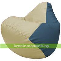 Бескаркасное кресло-мешок Груша Г2.3-1003 светло-бежевый, синий