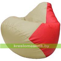 Бескаркасное кресло-мешок Груша Г2.3-1009 светло-бежевый, красный