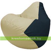 Бескаркасное кресло-мешок Груша Г2.3-1015 светло-бежевый, синий