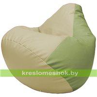 Бескаркасное кресло-мешок Груша Г2.3-1019 светло-бежевый, оливковый