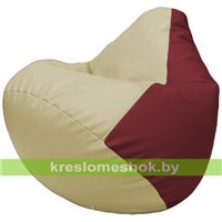 Бескаркасное кресло-мешок Груша Г2.3-1021 светло-бежевый, бордовый