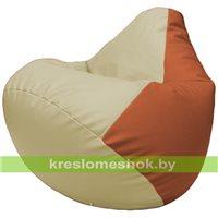Бескаркасное кресло-мешок Груша Г2.3-1023 светло-бежевый, оранжевый