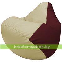 Бескаркасное кресло-мешок Груша Г2.3-1032 светло-бежевый, бордовый