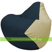 Бескаркасное кресло-мешок Груша Г2.3-1510 синий, светло-бежевый