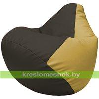 Бескаркасное кресло-мешок Груша Г2.3-1608 чёрный, охра